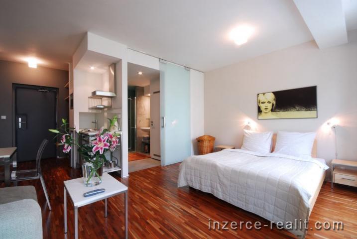 Praha, zařízený byt k pronájmu 1+kk (29m2), ulice Holečkova, Košíře, úklid, parkování