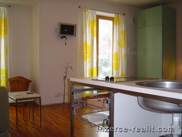 Praha, luxusní zařízený byt k pronájmu 1+kk (30m2), ulice Holečkova, Košíře, úklid, parkován