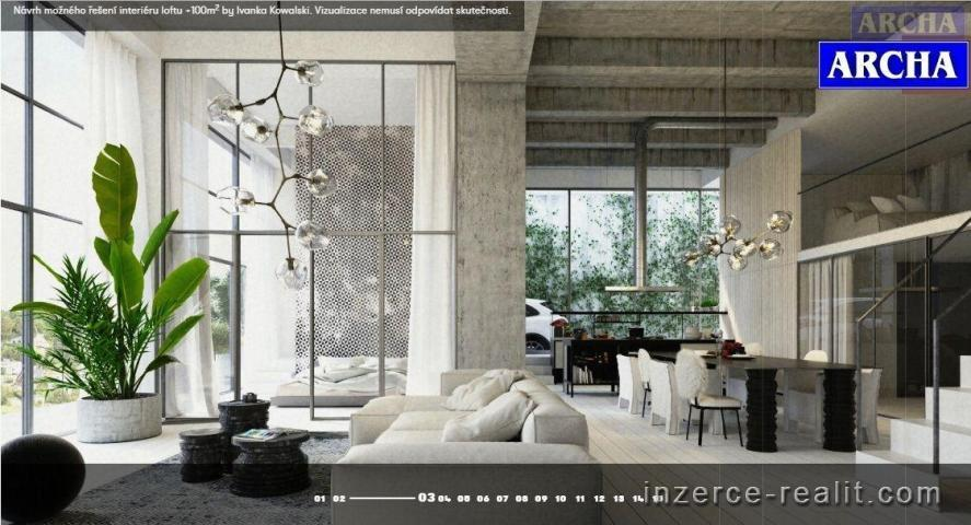 Prodej bytu Loft, plocha 56 m2, balkon 21,2 m2, 3.NP,  Praha 4
