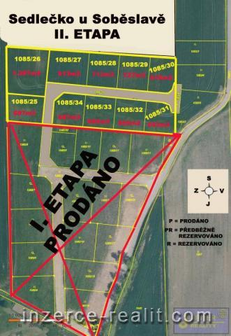 ID32- II. ETAPA - Stavební zasíťovaný pozemek č.32,výměra  695m2,Sedlečko u Soběslavě, okres Tábor