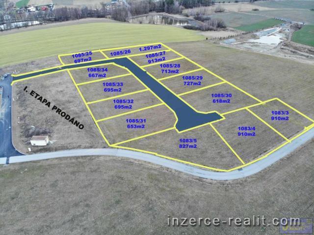 ID4- II. ETAPA - Stavební zasíťovaný pozemek č.4,výměra  910m2,Sedlečko u Soběslavě, okres Tábor