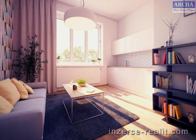 Prodej bytu 1+kk, 44,5 m2, terasa 9,8 m2, 7.NP, Praha 8 Palmovka