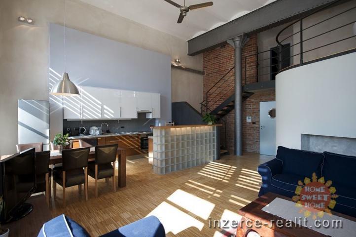 Luxusní, zařízený byt 3+kk (136 m2), loft, pronájem, Praha 7 - Holešovice, ulice Na Maninách