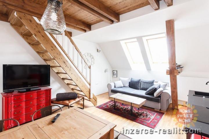 Praha 7, k pronájmu krásný zařízený mezonetový byt 4+kk (98 m2), ulice Tusarova, Holešovice
