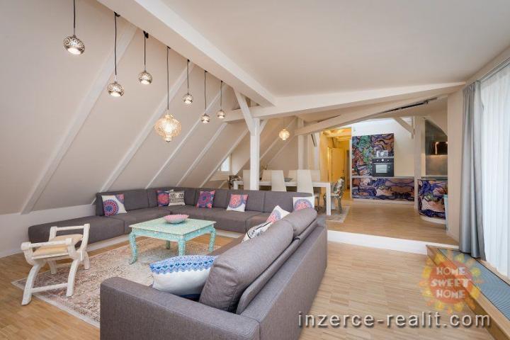 Luxusní moderně zařízený byt 4+kk k pronájmu, 152 m2, terasa, Praha 1- Nové Město, ulice Jilská